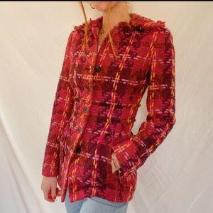 Eccocci Multi Colored Wool Coat Size 12